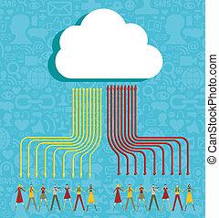 ludzie, chmura, pojęcie, obliczanie
