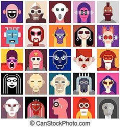 ludzie, chodząc, maski