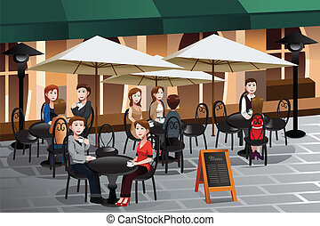 ludzie, cieszący się, kawa, zewnątrz, od, niejaki, kawiarnia