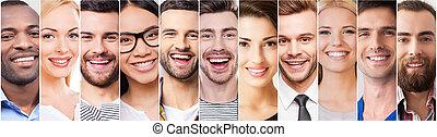 ludzie, collage, dodatni, młody, wzruszenia, radosny, rozmaity, multi-ethnic, wyrażając, uśmiechanie się, smile.