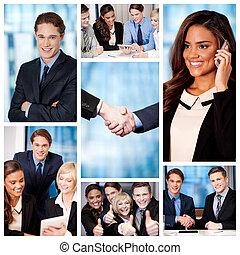 ludzie, collage., grupa, handlowy