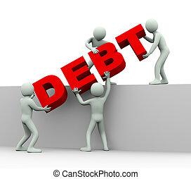 ludzie, -, dług, 3d, pojęcie
