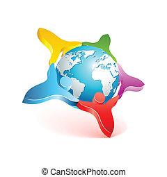 ludzie, element, wektor, projektować, świat, icon., 3d