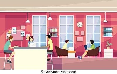 ludzie, gaworząc, campus, przypadkowy, nowoczesny, pozować, uniwersytet, biuro, studenci, grupa