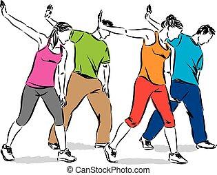 ludzie, grupa, ilustracja, taniec