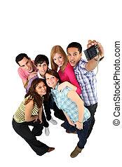 ludzie, grupa, młody, fotografowanie