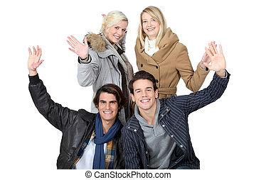 ludzie, grupa, młody, powitanie
