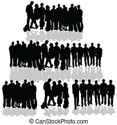 ludzie, grupa, na białym