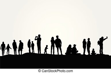 ludzie, grupa, natura