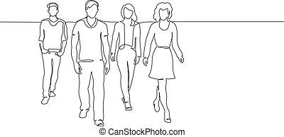 ludzie, grupa, pieszy, drawing., ciągły, kreska, jeden