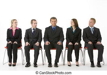 ludzie handlowe, posiedzenie, grupa, kreska