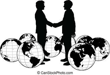 ludzie handlowe, uzgodnienie, globalny, porozumienie