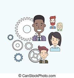 ludzie handlowe, ząb, teamwork, grupa, pojęcie, koło