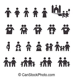 ludzie, i, rodzina, ikona