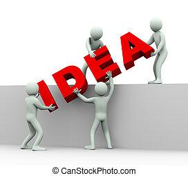ludzie, -, idea, 3d, pojęcie