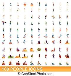 ludzie, ikony, komplet, 100, styl, rysunek