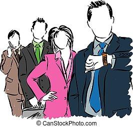 ludzie, ilustracja handlowa, grupa