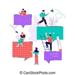 ludzie, internet, przez, komunikuje się, grupa
