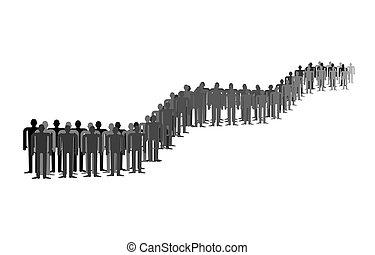 ludzie, isolated., dużo, długi, kolejka, lina., stać