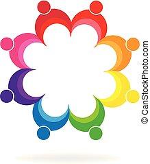 ludzie, jedność, teamwork, dzierżawa wręcza, logo