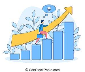 ludzie, kariera, startup, wektor, wzrost, busines, wypełniony