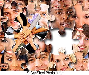 ludzie, kawałki, handlowy, zagadka, grupa