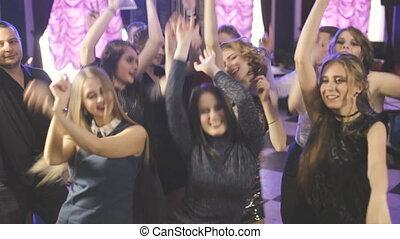 ludzie, klub, taniec, młody, noc, zabawa, partia