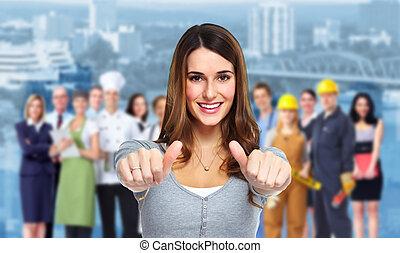 ludzie., kobieta, grupa, handlowy