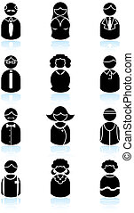 ludzie, komplet, czarnoskóry, handlowy, ikona