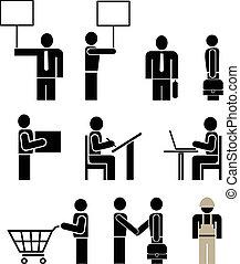 ludzie, -, komplet, od, wektor, ikony