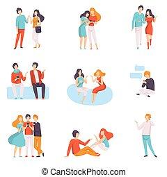 ludzie, komplet, ubrany, mężczyźni, młody, ilustracja, przypadkowy, mówiąc, wektor, każdy, gossiping, odzież, inny, rozmawianie, kobiety