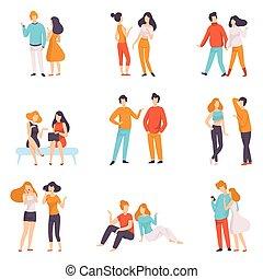 ludzie, komplet, ubrany, mężczyźni, młody, ilustracja, przypadkowy, mówiąc, wektor, każdy, odzież, inny, rozmawianie, kobiety