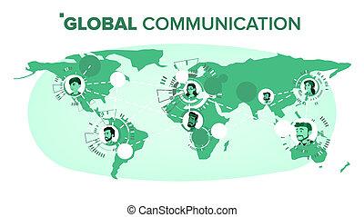 ludzie, komunikacja, globalny, map., connection., ilustracja, odizolowany, teamwork, vector., świat