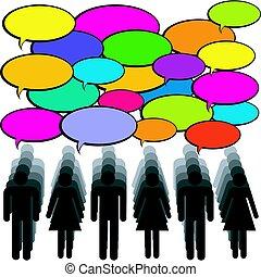 ludzie, komunikacja, mowa, bubbles., pojęcie