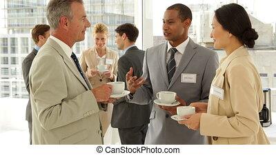 ludzie, konferencja, handlowy, gaworząc