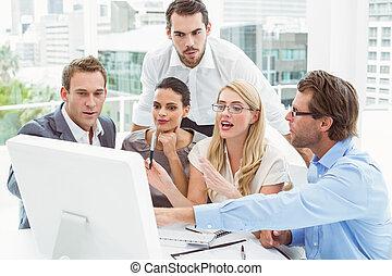 ludzie, laptop, mee, handlowy, używając