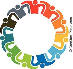 ludzie, logo., teamwork, grupa, jedenaście, osoby