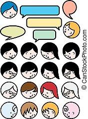 ludzie, mówiąc, wektor, komplet, ikona