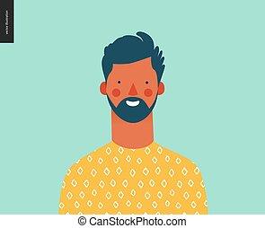 ludzie, -, młody, jasny, portret, człowiek