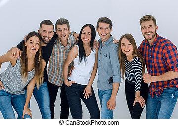 ludzie, młody, portret, radosny, grupa