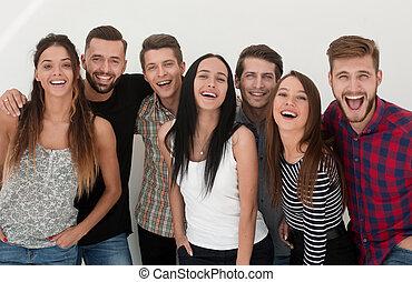 ludzie, młody, zamknięcie, radosny, grupa, do góry.
