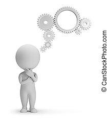 ludzie, -, mechanizm, myśl, mały, 3d