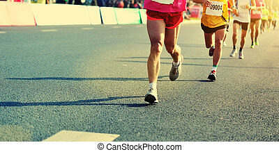 ludzie miasta, prąd, feet, wyścigi, maraton, droga