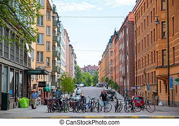 ludzie, miasto, bicycles, day., słoneczny, ulica