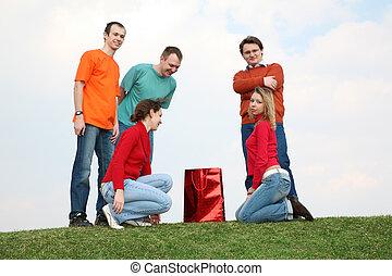 ludzie, na trawie, z, przedimek określony przed rzeczownikami, paczka