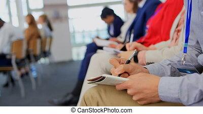 ludzie, notatnik, seminarium, handlowy, pisanie, 4k