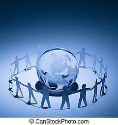 ludzie, obejmowanie, ziemia