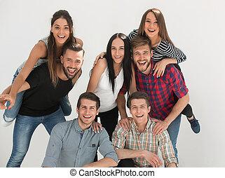 ludzie, obiecujący, młody, radosny, grupa