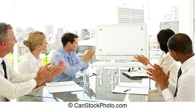 ludzie, oklaskując, spotkanie, handlowy