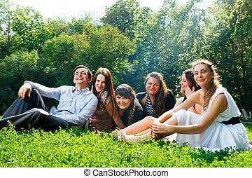 ludzie, park, młody, zabawa, posiadanie, szczęśliwy